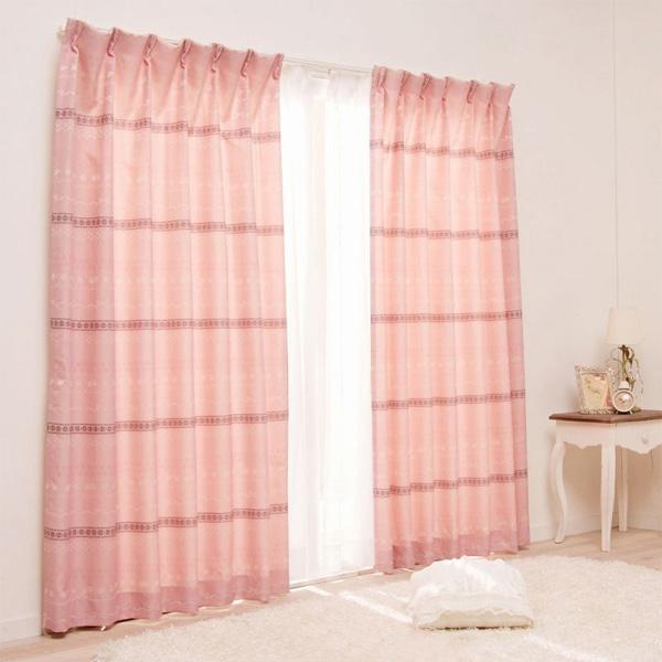 カーテン/チロリアンテープ調(遮光あり・100x200) ピンクの小イメージ
