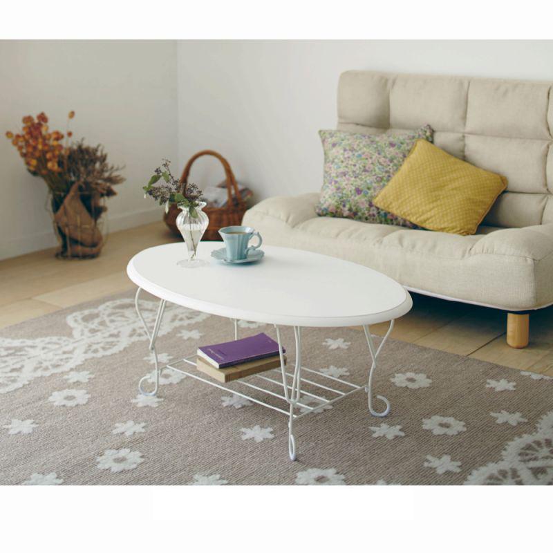 猫脚折りたたみテーブルAW ホワイト A(オーバル)