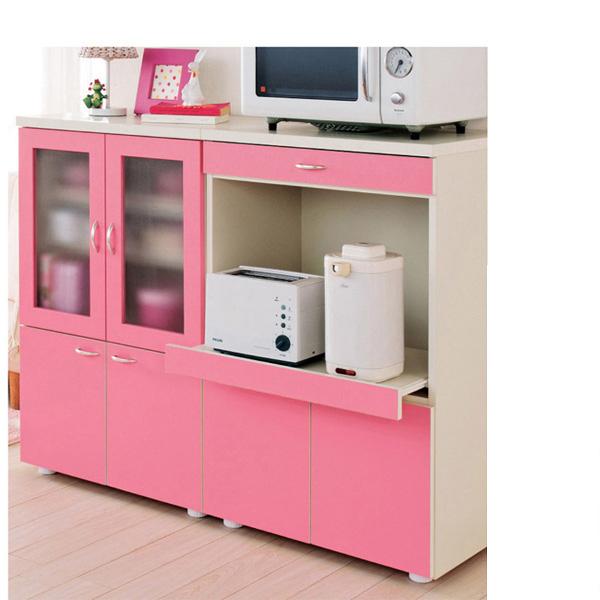 カジュアルミニ食器棚(B・レンジ台) アイボリーの写真