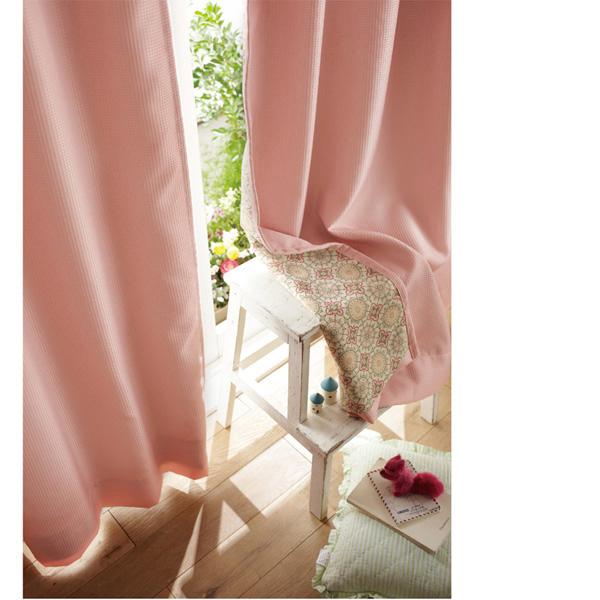 ワッフル遮光カーテン/ピンク・ブラウン(200x135)の商品画像