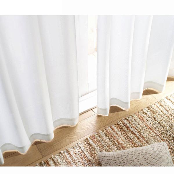 多機能プレーンレースカーテン(130x88・2枚組) ホワイトの小イメージ