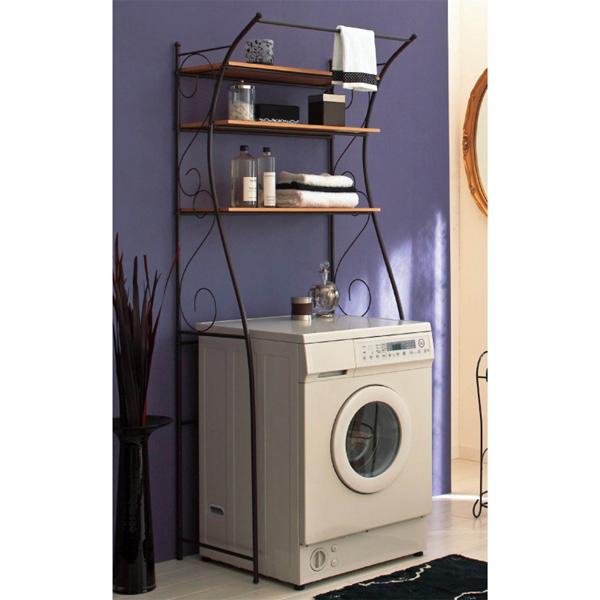 デザイン洗濯機ラック ホワイトの小イメージ