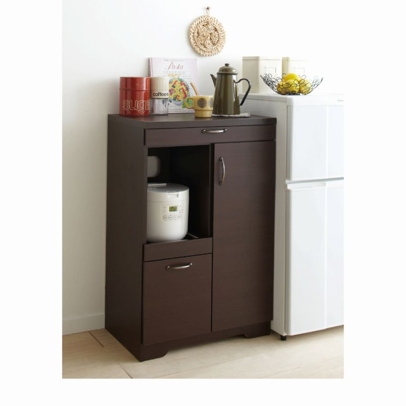 スライドテーブル付食器棚(Bミニ食器棚) ダークブラウンの商品画像
