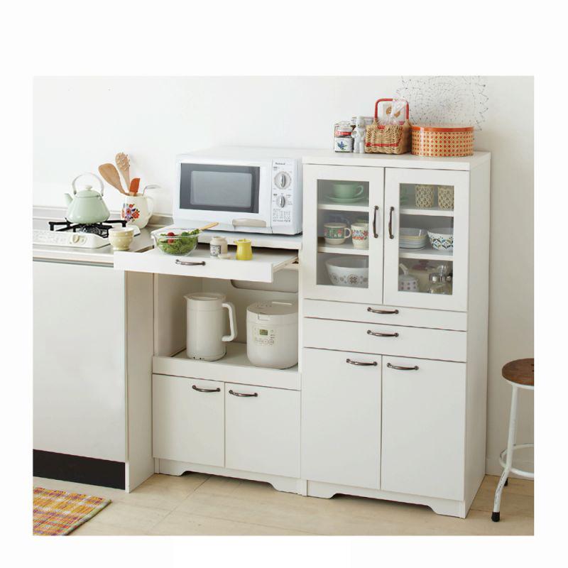 スライドテーブル付食器棚(Cミドル食器棚) ダークブラウンの商品画像