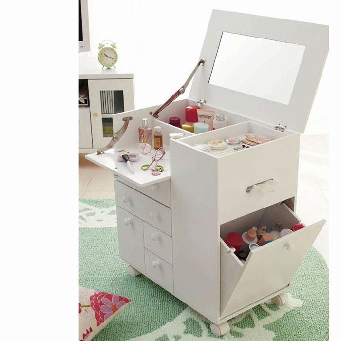たっぷり収納コスメワゴン ドレッサー コスメボックス メイク台 メイクボックス ワゴンタイプ メイク 化粧品収納 化粧 ピンクの商品画像