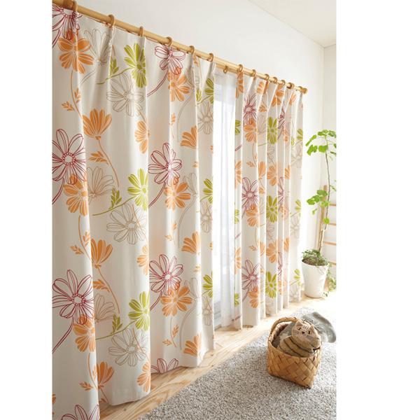 北欧調花柄遮光カーテン(100x178・2枚組) グリーンの写真