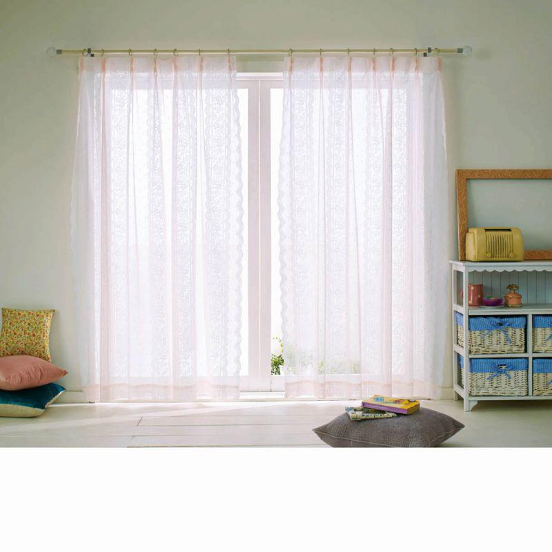 レースカーテン(100x228・2枚組) ピュアピンクの商品画像