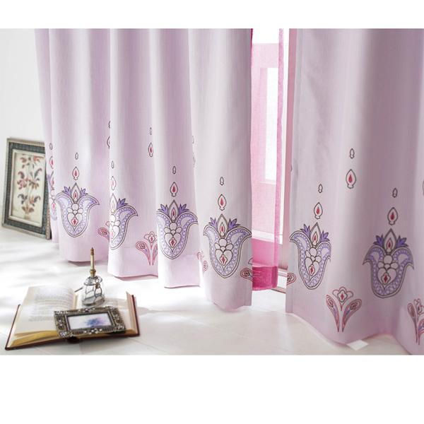 刺しゅう遮光カーテン(100x200・2枚組) パープルの小イメージ