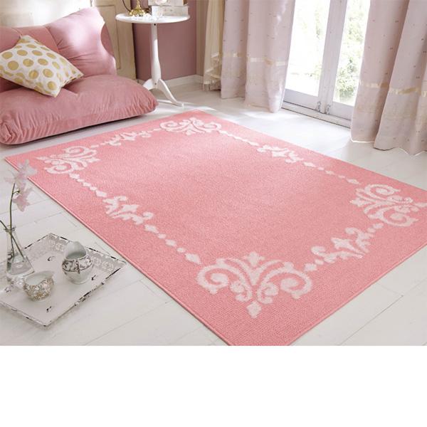 オーナメント柄ラグ(長方形・185x240) ピンクの小イメージ