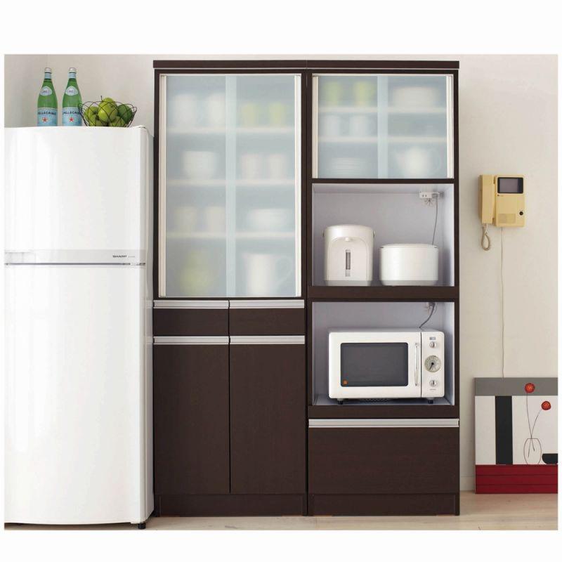引き戸食器棚(A・食器棚・幅60cm・レンジ台有り) ブラウンの写真