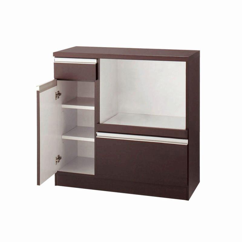 引き戸食器棚(D・カウンター・幅89.5cm・レンジ台有り) ブラウンと題した写真