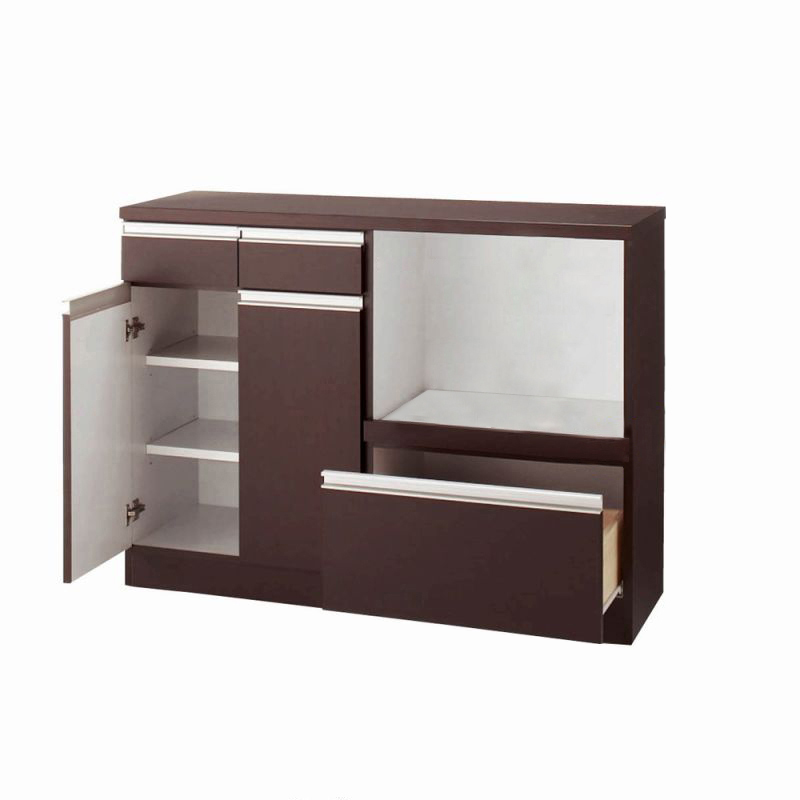 引き戸食器棚(E・カウンター・幅119cm) ブラウンの商品画像