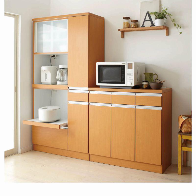 引き戸食器棚(G・カウンター・幅89.5cm・レンジ台無し) ナチュラルの商品画像