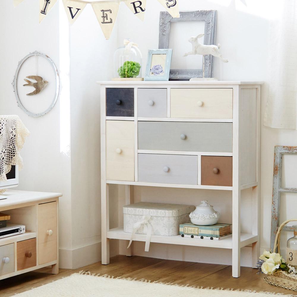 マルチカラーシリーズ家具(チェスト・幅76cm・奥行き30cm・高さ80cm) チェストAの写真