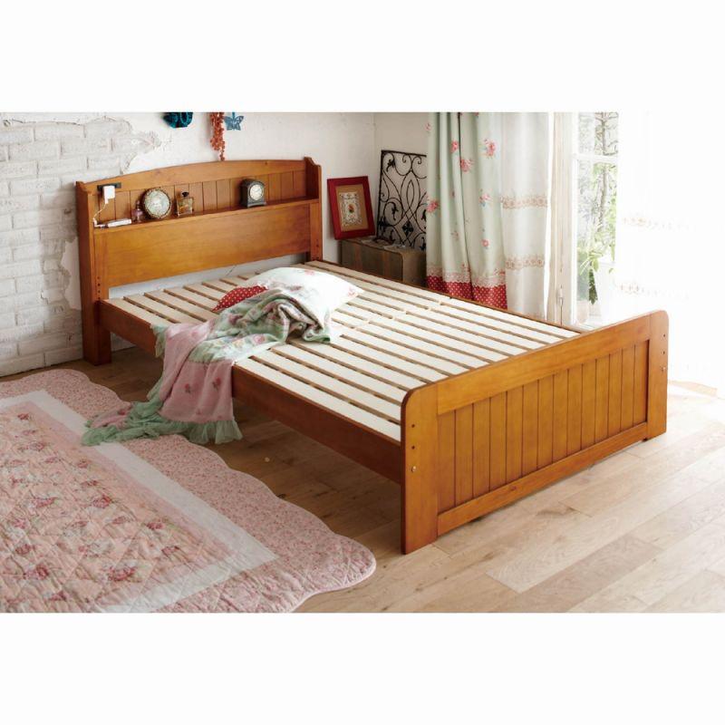 すのこベッド(棚付き・セミダブル) Aホワイトウォッシュの写真