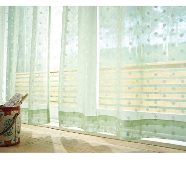 ドットレースカーテン(100x183・2枚組) グリーンの写真