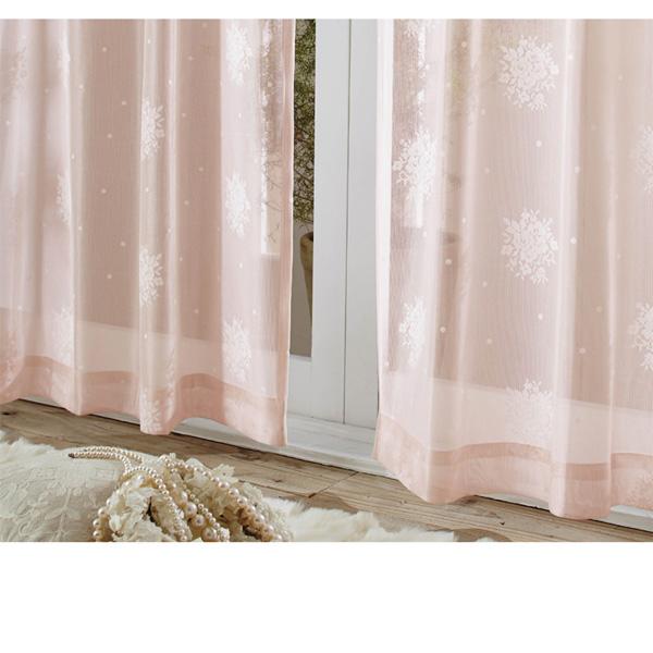 花柄レースカーテン(100x108・2枚組) シルキーピンクの小イメージ