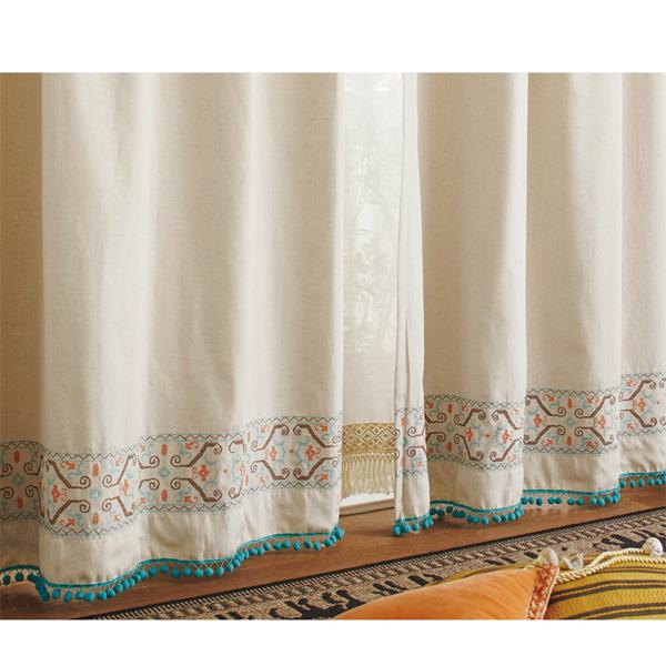 エスニック遮光カーテン(150x178・2枚組) サンドベージュの写真