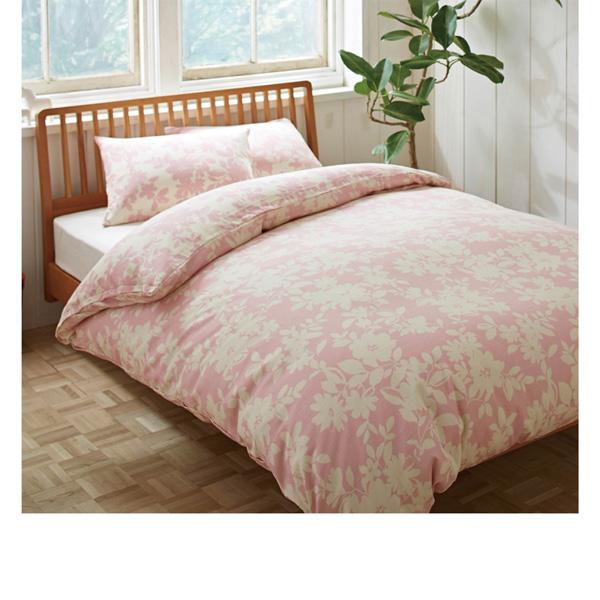 北欧調フラワー柄掛け布団カバー(ダブル) ピンクの商品画像