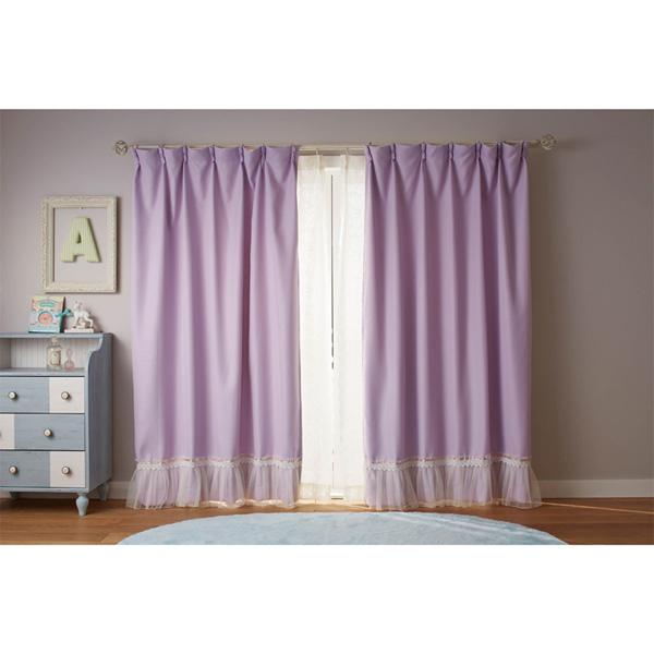 裾フリル遮光カーテン(150x178・2枚組) ミルキーピンクの小イメージ