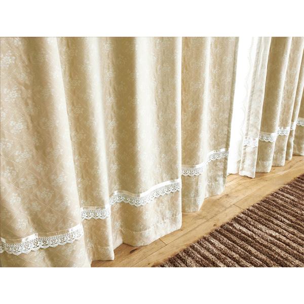 ジャガード遮光カーテン(100x178・2枚組) ベージュの小イメージ