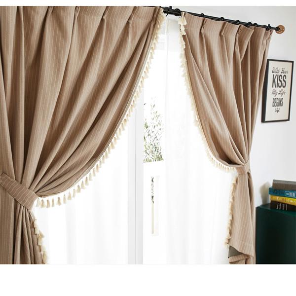フリンジ付遮光カーテン(100x110・2枚組) ベージュの商品画像