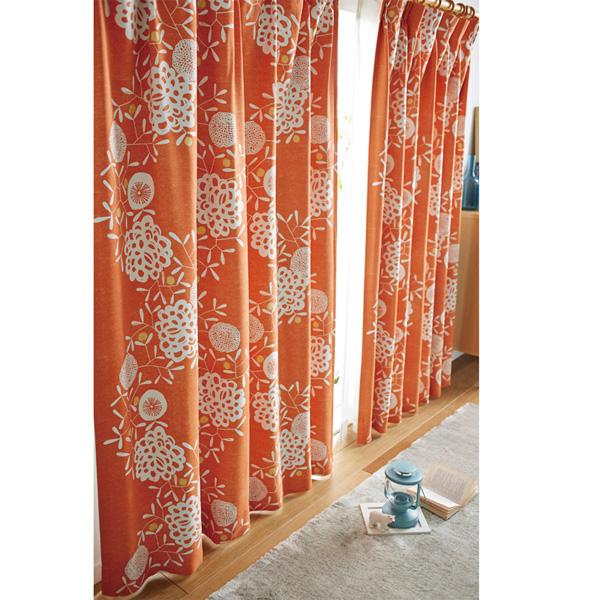 北欧調リース柄遮光カーテン(100x135・1枚) グレーの小イメージ