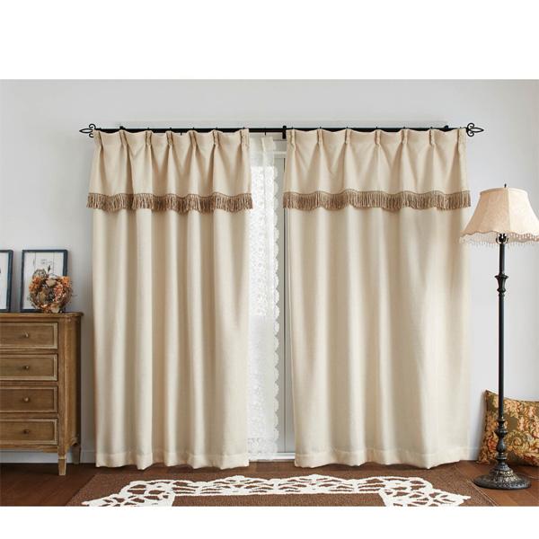 フリンジ付遮光カーテン(100x110・2枚組) アイボリーの写真