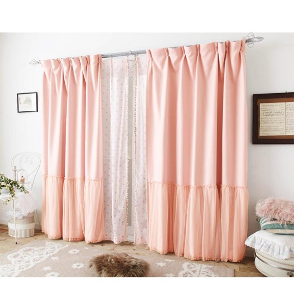 チュール付遮光カーテン(200x178・1枚) ピンクの写真