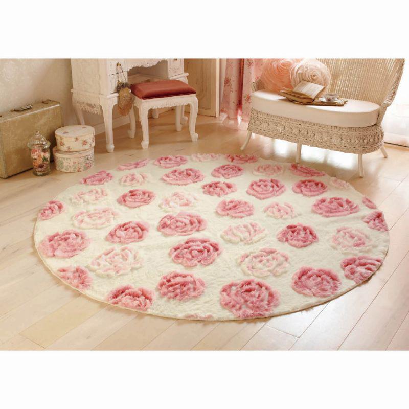 ふわふわローズラグ(円形・直径190) ピンクの商品画像