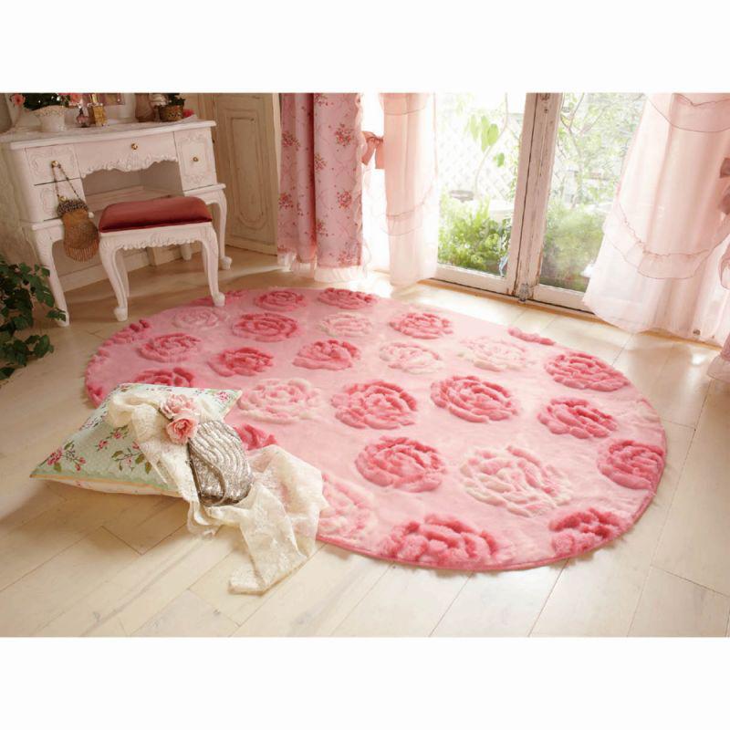 ふわふわローズラグ(楕円形・130x190) ピンクの商品画像