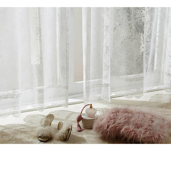 裾スカラップレースカーテン(150x176・2枚組) シルキーピンクの小イメージ