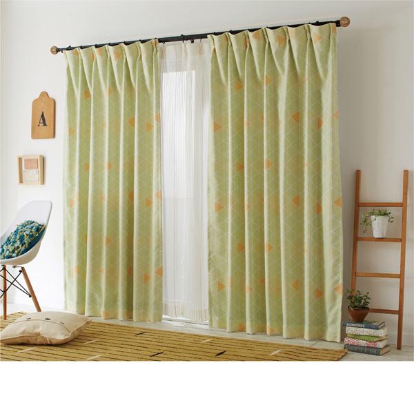 北欧調さんかく柄ジャガードカーテン(100x185・2枚組) グリーンxOR