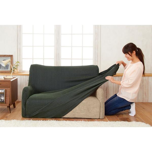 コーデュロイ風ソファーカバー(2人用・肘なし) アイボリーの写真
