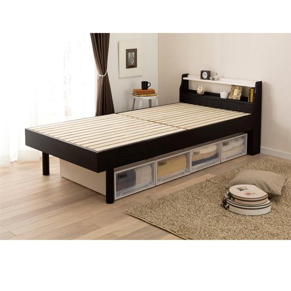 高さ調節すのこベッド(ダブル・本体のみ) ダークブラウンの小イメージ