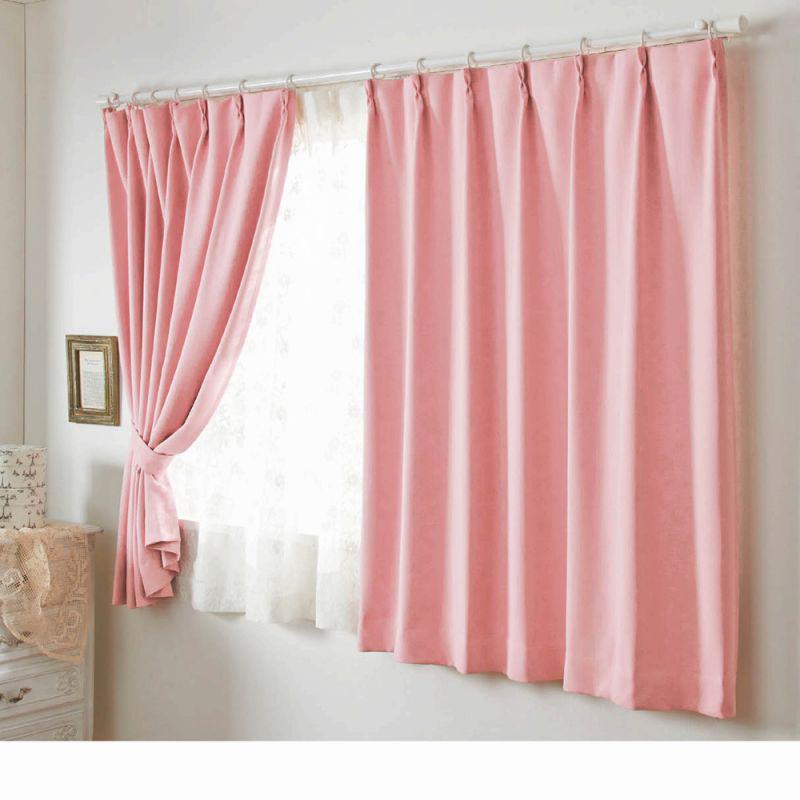 一級遮光カーテン(150x135・2枚組) ピンクの小イメージ