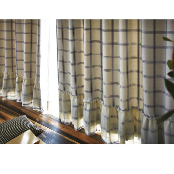 裾フリル遮光チェックカーテン(100x110・2枚組) ブルーの商品画像