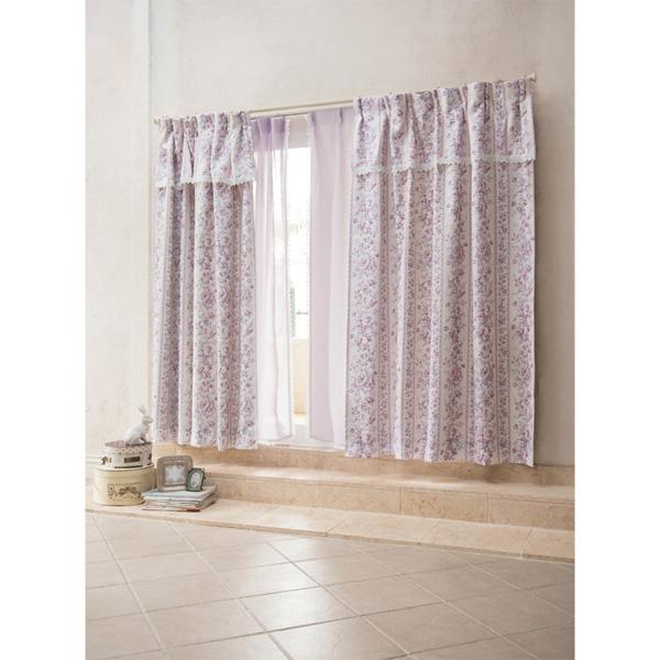 花柄遮光カーテン(100x200・2枚組) ベージュの写真