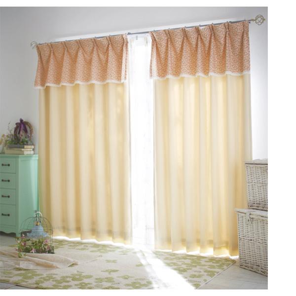 花柄上飾り遮光カーテン(100x185・2枚組) アイボリーの写真