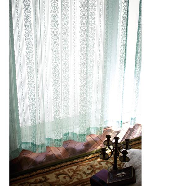 クラシック柄レースカーテン(150x176・2枚組) グリーン
