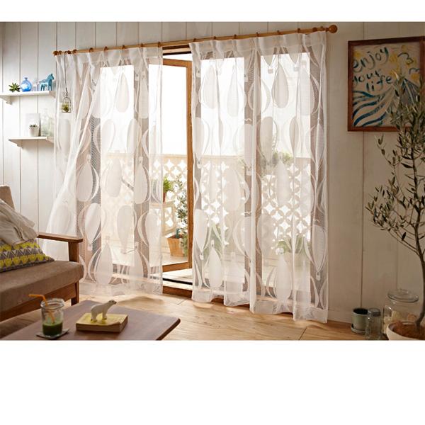 北欧デザイナー・レースカーテン(100x108・2枚組) ホワイトの写真