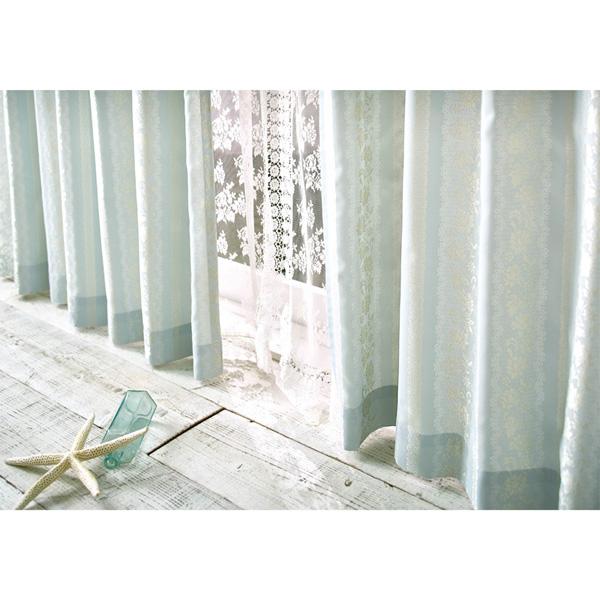 防炎ジャガードカーテン(100x178・1枚) ブルーの小イメージ