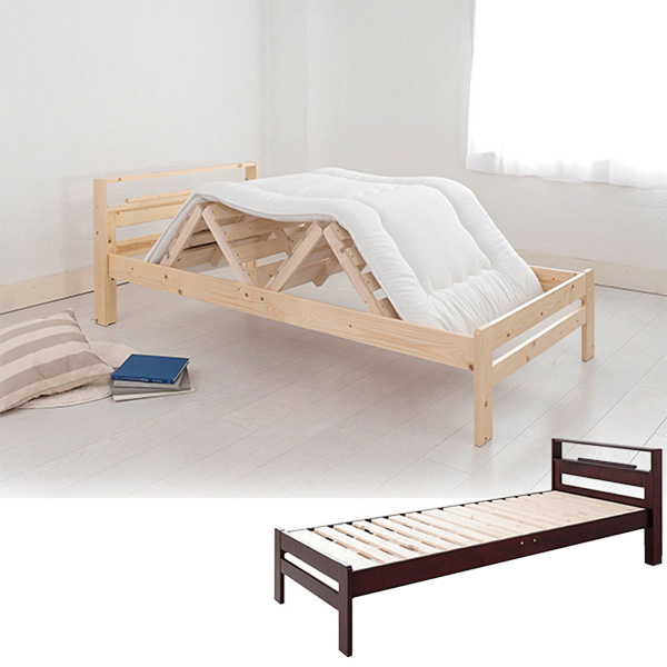 布団が干せるすのこベッド(セミダブル・本体のみ) ブラウンの商品画像