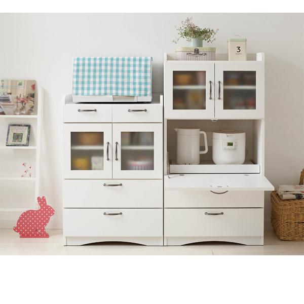 ミニ食器棚(B・ロー・家電収納付) ホワイトの商品画像