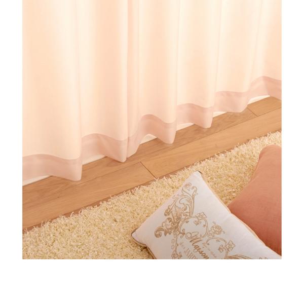 多機能プレーンレースカーテン(150x148・2枚組) ピンクの写真
