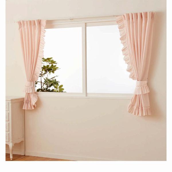 多機能フリルレースカーテン(100x103・2枚組) ピンクの小イメージ