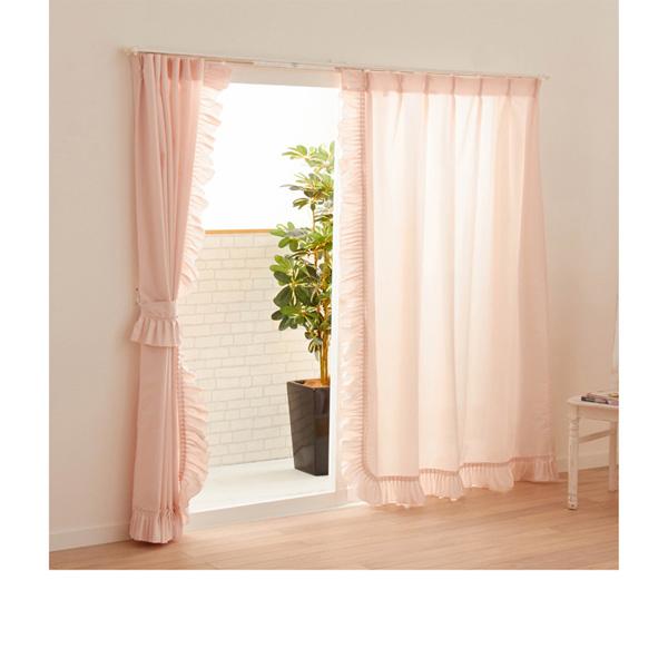 多機能フリルレースカーテン(100x228・2枚組) ピンクの商品画像