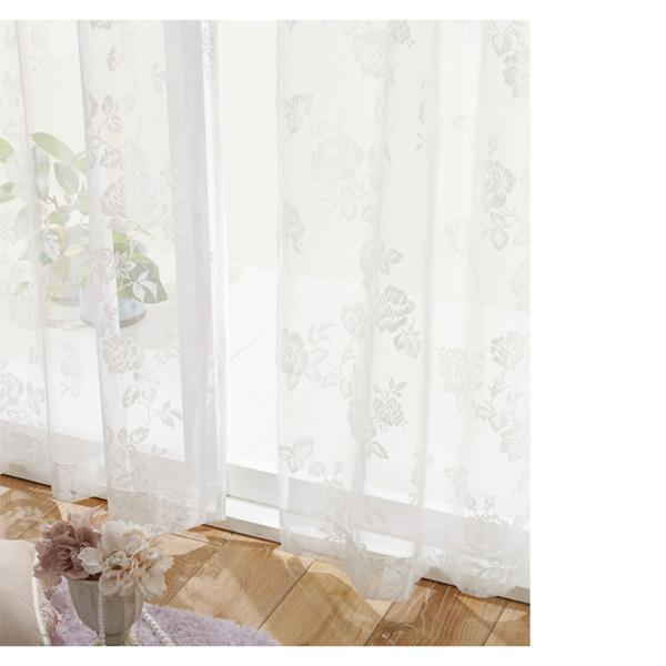 ローズ柄レースカーテン(100x183・2枚組) ホワイトの写真