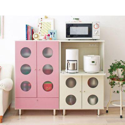 カジュアルミニ食器棚(W59xD42xH101cm) アイボリー Bの商品画像
