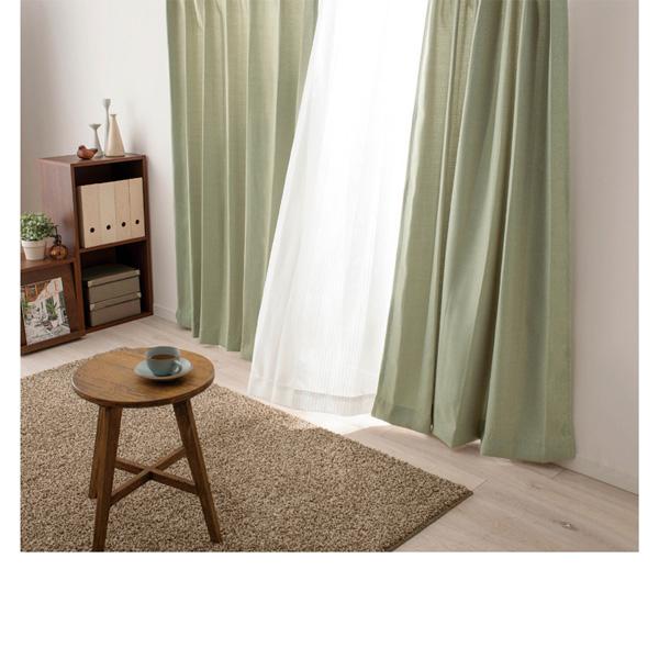 カーテン4枚セット(100x190・厚地2枚組・レース2枚組) グリーンの写真